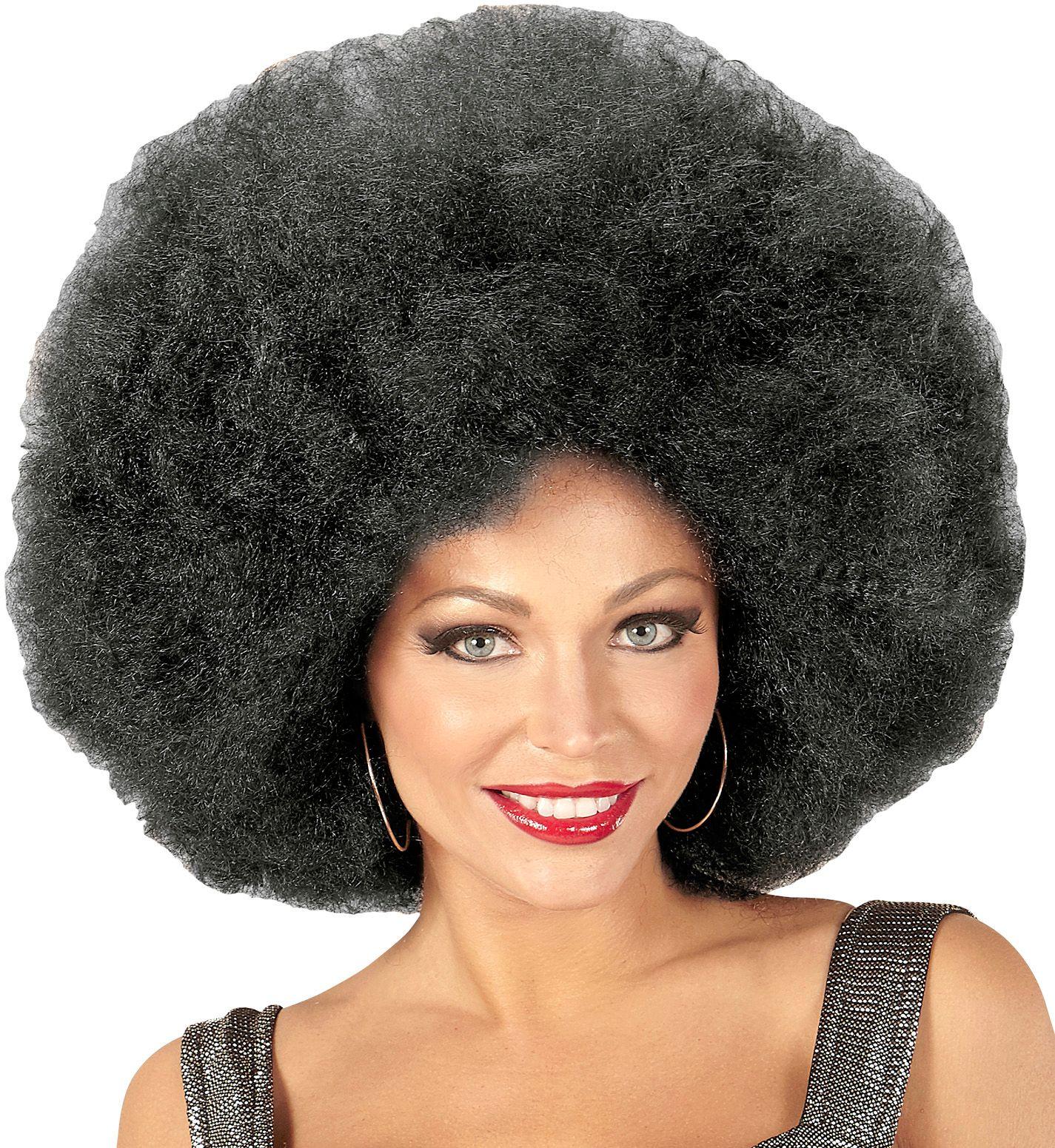 Zwarte afro pruik extra groot