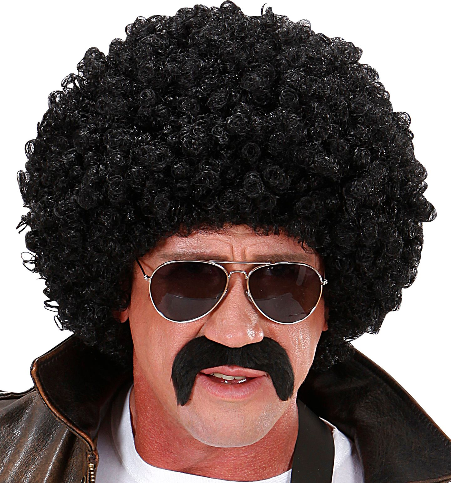 Zwarte afro pruik met bril en snor