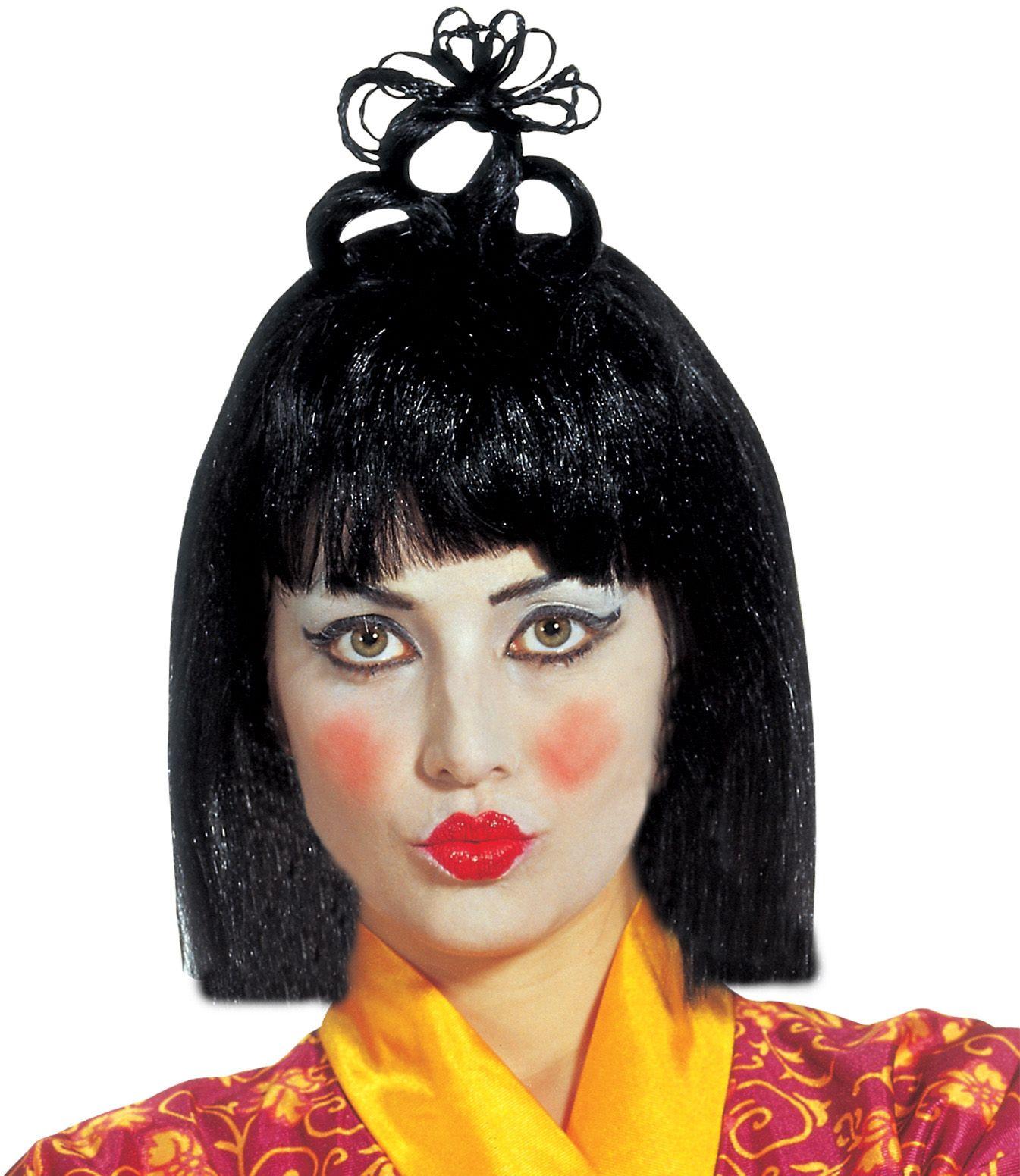 Zwarte chinese Geisha pruik