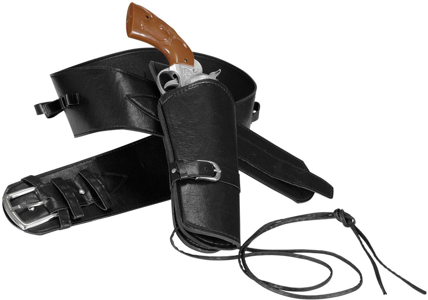 Zwarte cowboy riem met holster