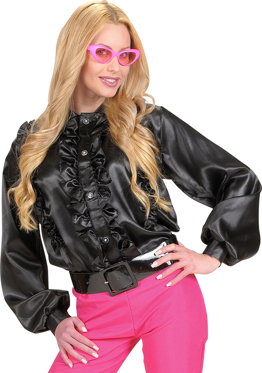 Zwarte dames disco blouse
