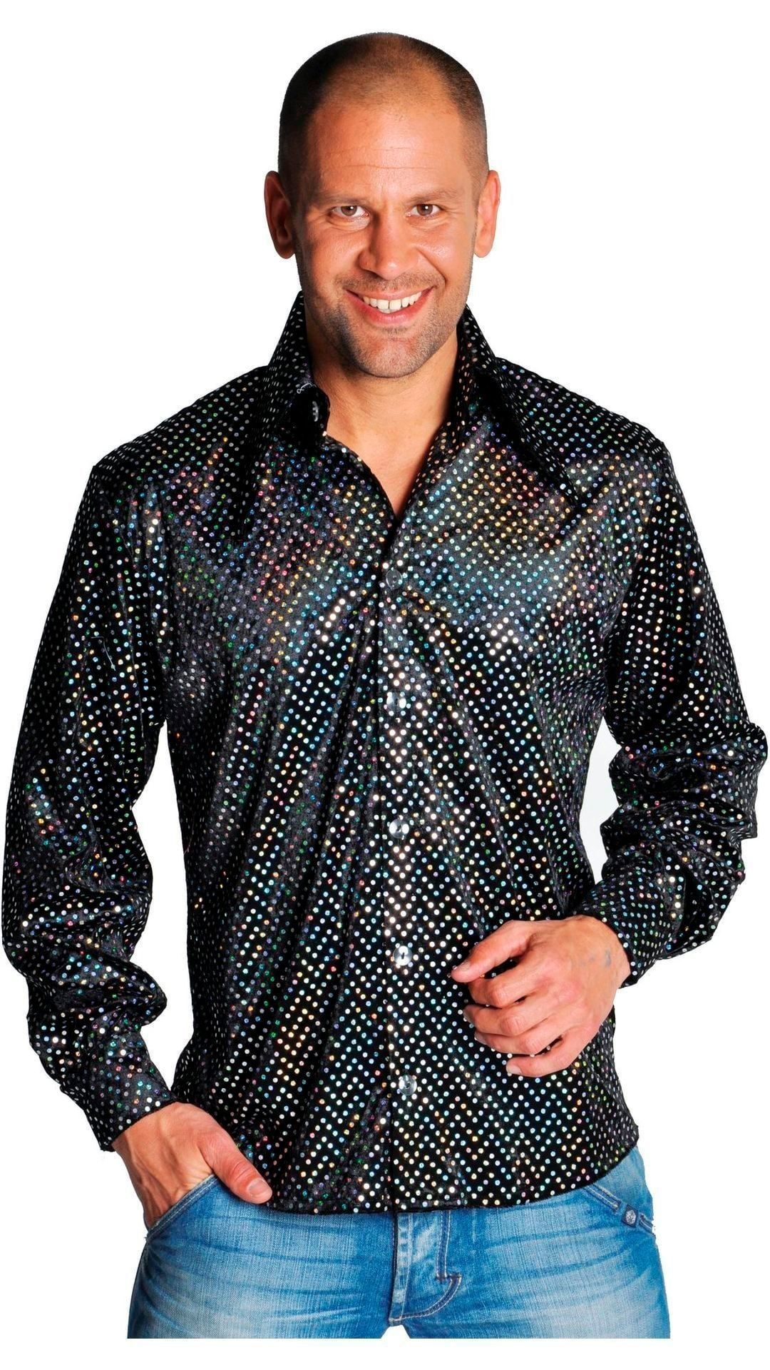 Zwarte disco blouse mannen