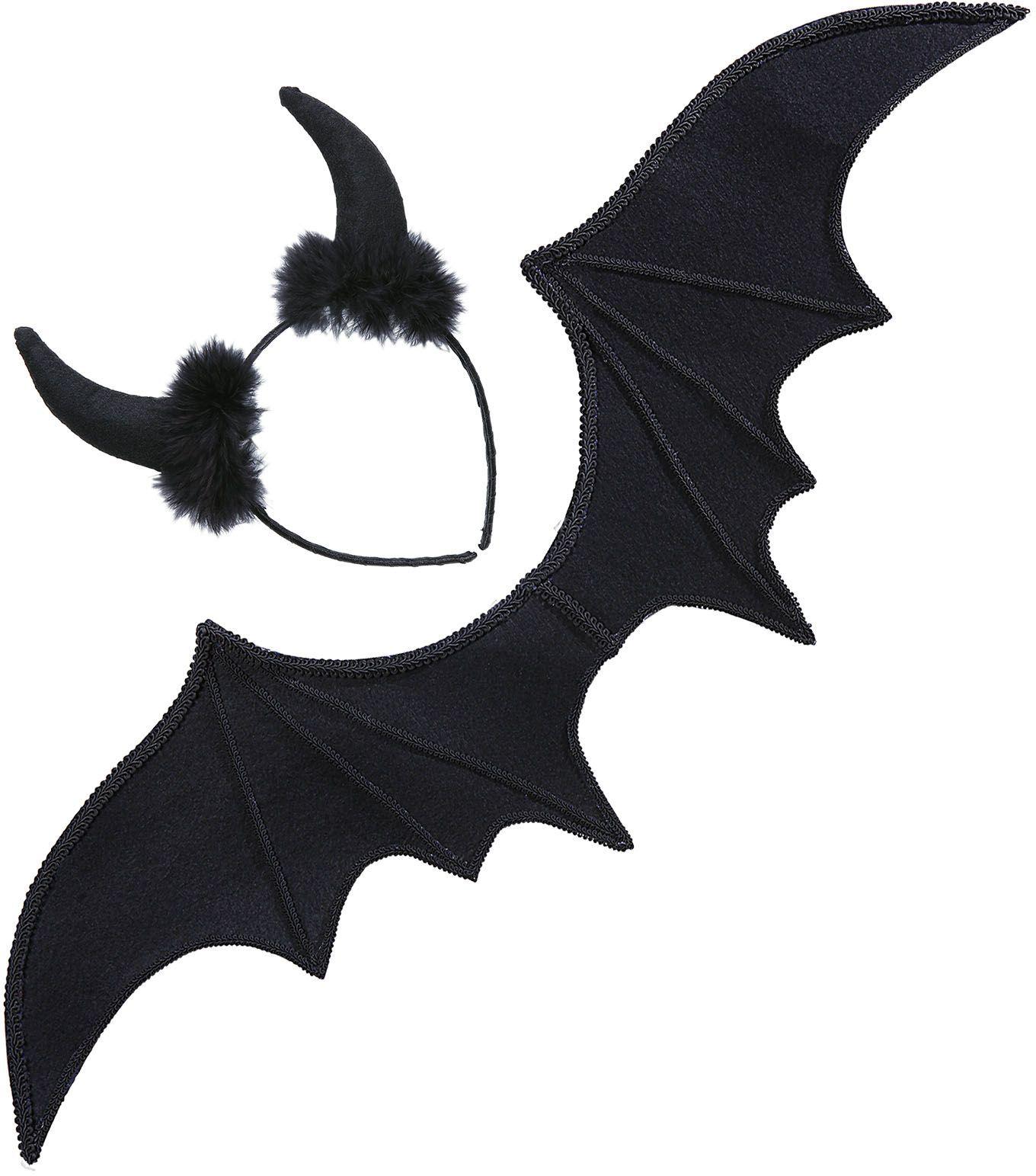 Zwarte duivel vleugels met oren