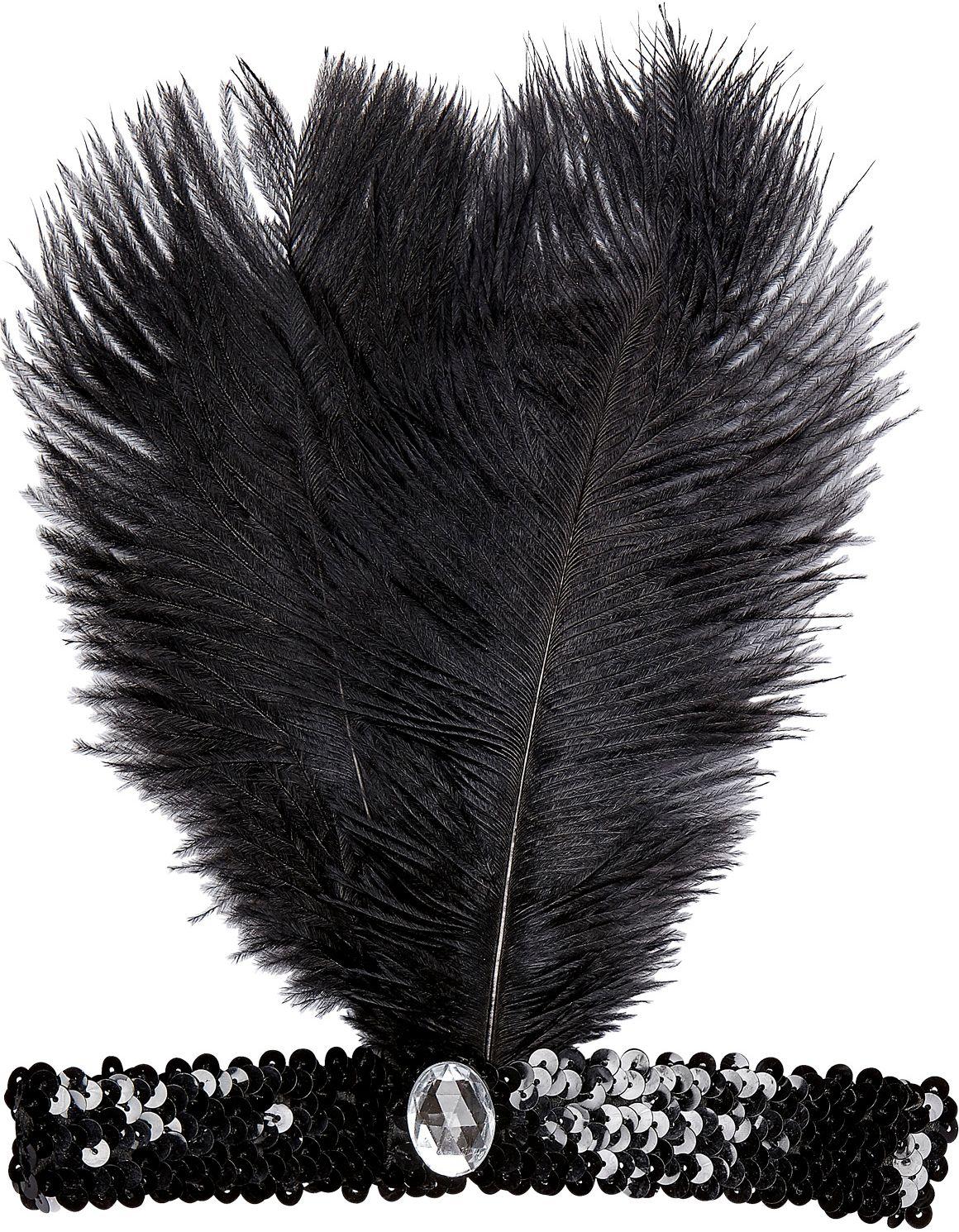 Zwarte flapper hoofdband