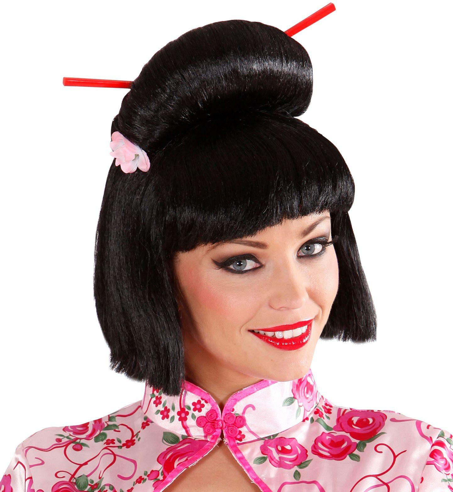 Zwarte Geisha pruik met bloem en chopsticks