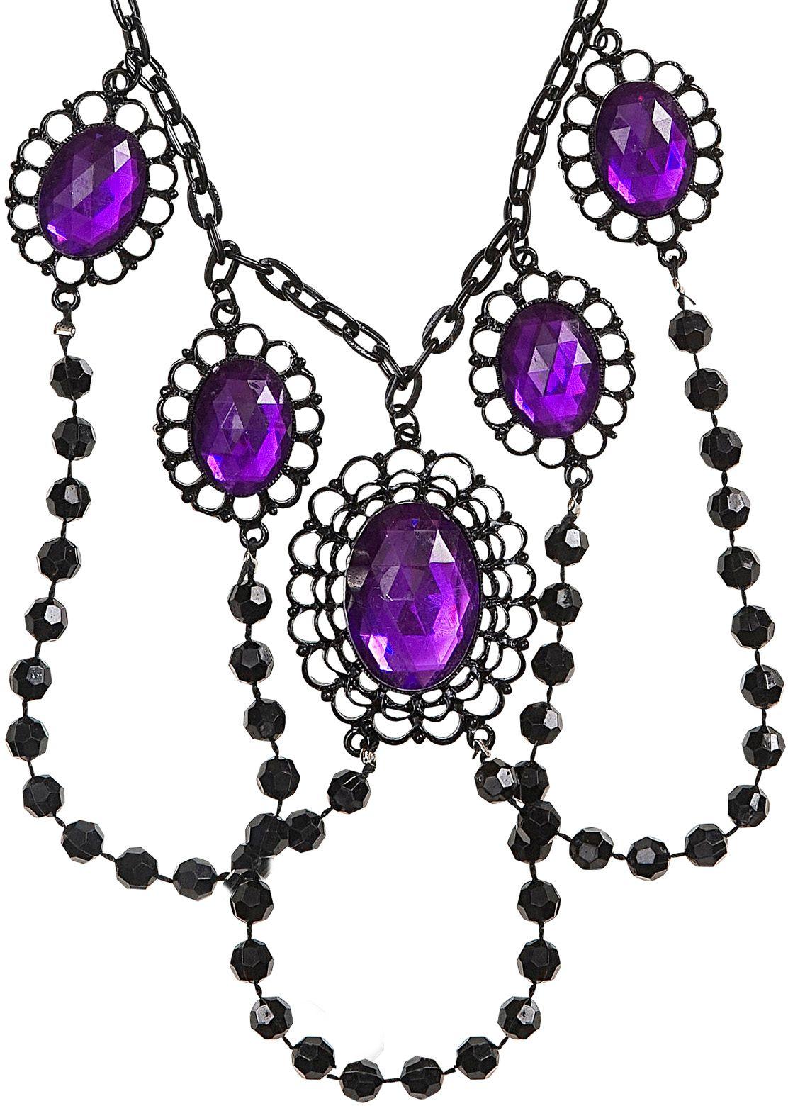 Zwarte geparelde choker met paarse juwelen