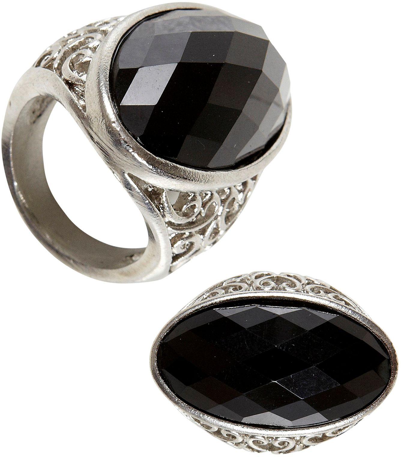 Zwarte gothic ring met edelsteen