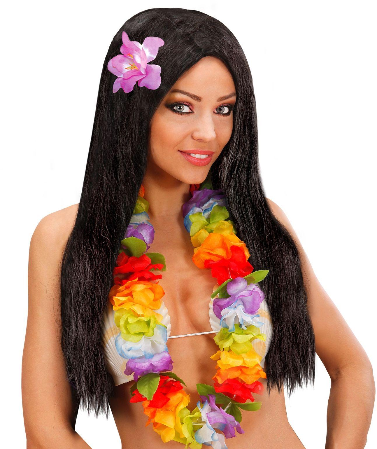 Zwarte hawaiiaanse pruik met bloem