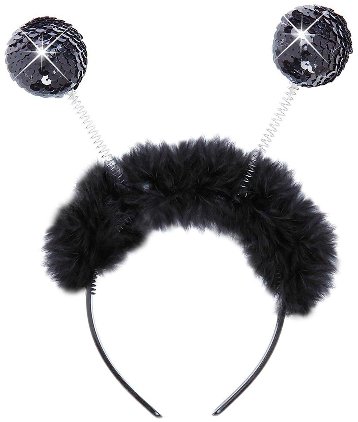 Zwarte hoofdband met pailletten sprieten