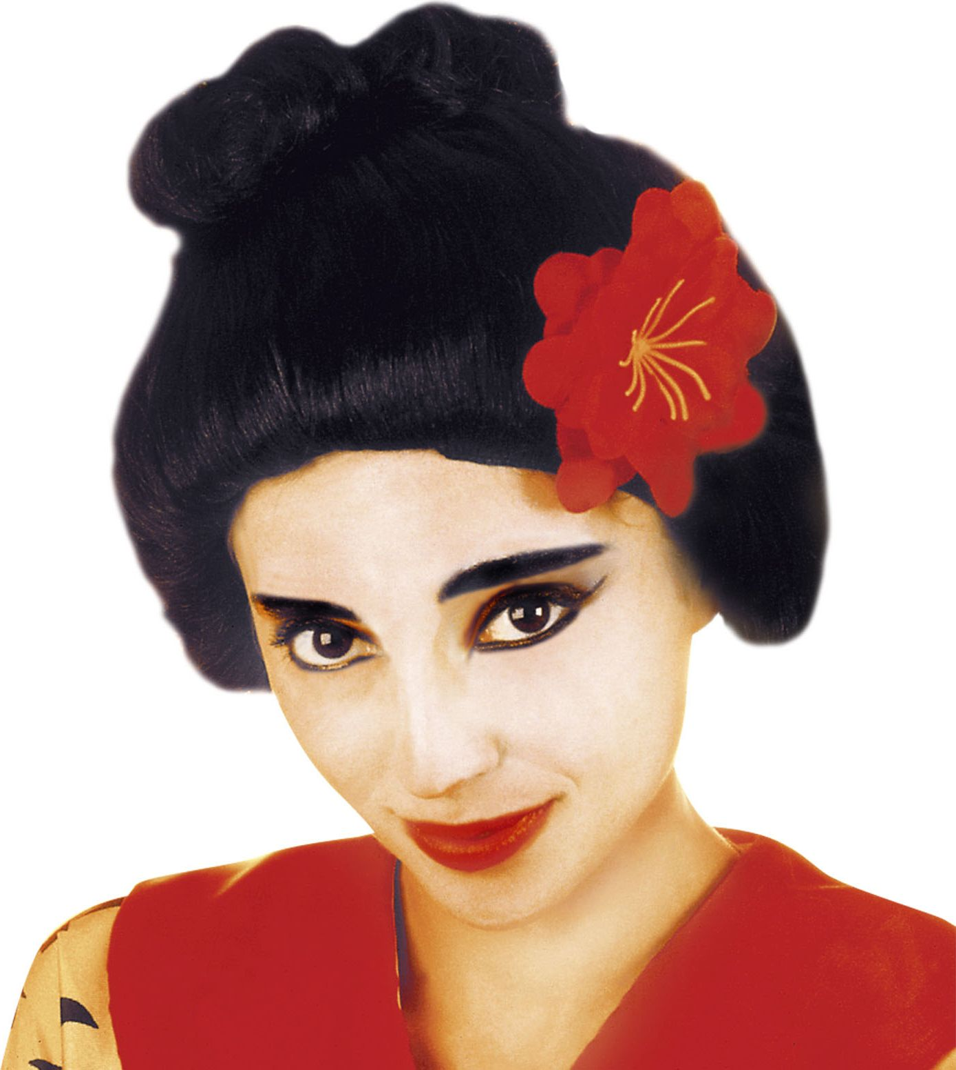 Zwarte japanse Geisha pruik