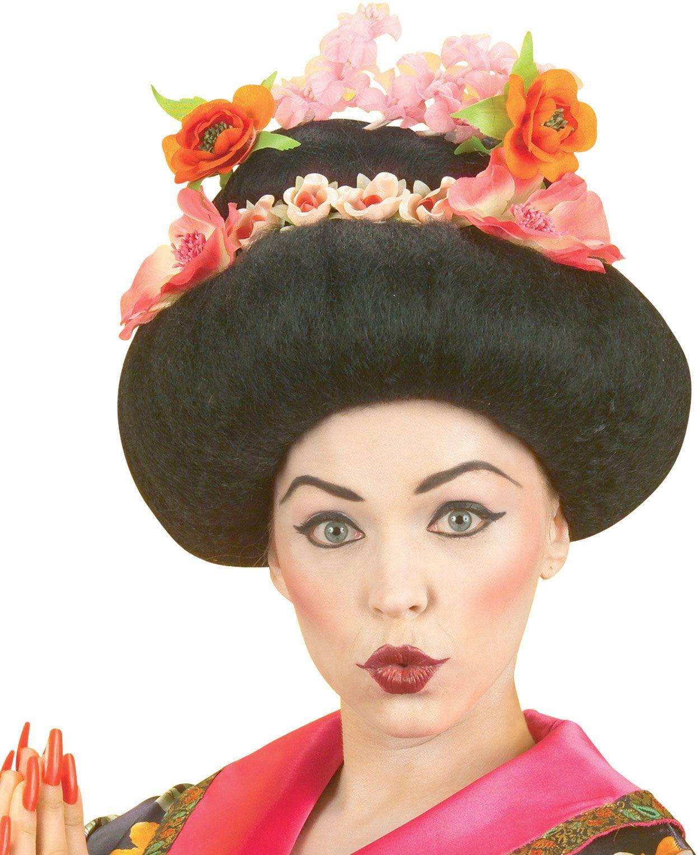Zwarte japanse Geisha pruik met bloemen