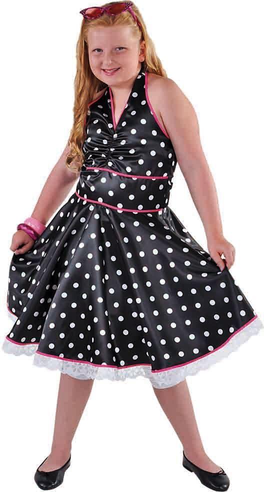 Zwarte jurk met stippen jaren 50
