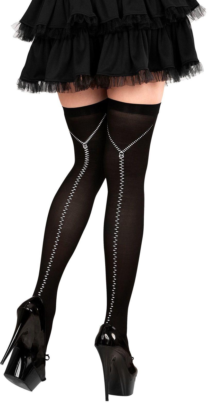 Zwarte knie kousen met rits