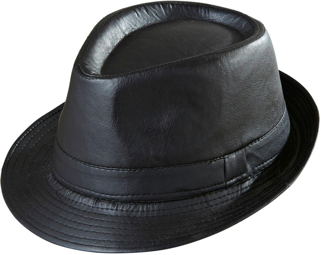 Zwarte lederlook hoed