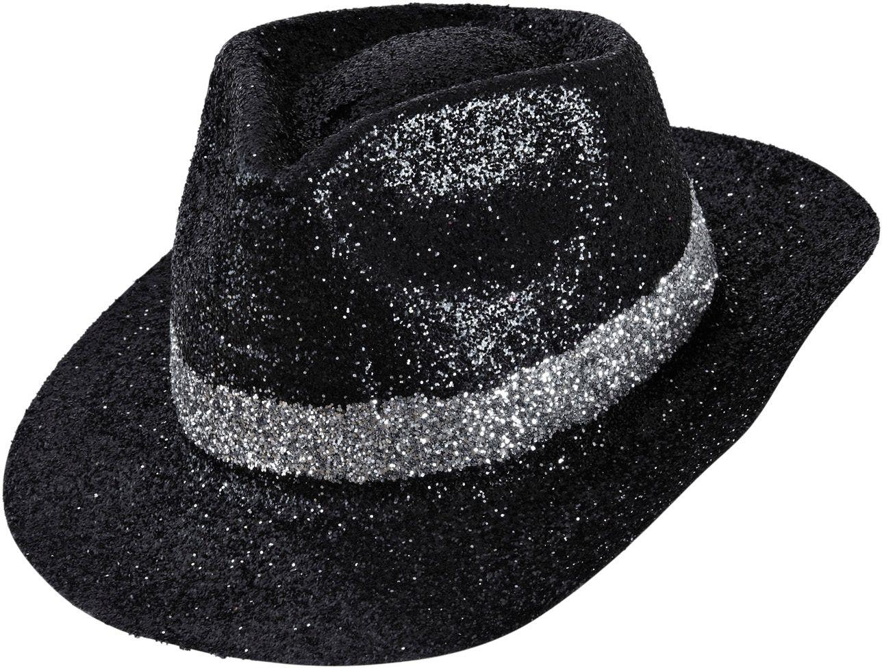 Zwarte maffia glitter hoed