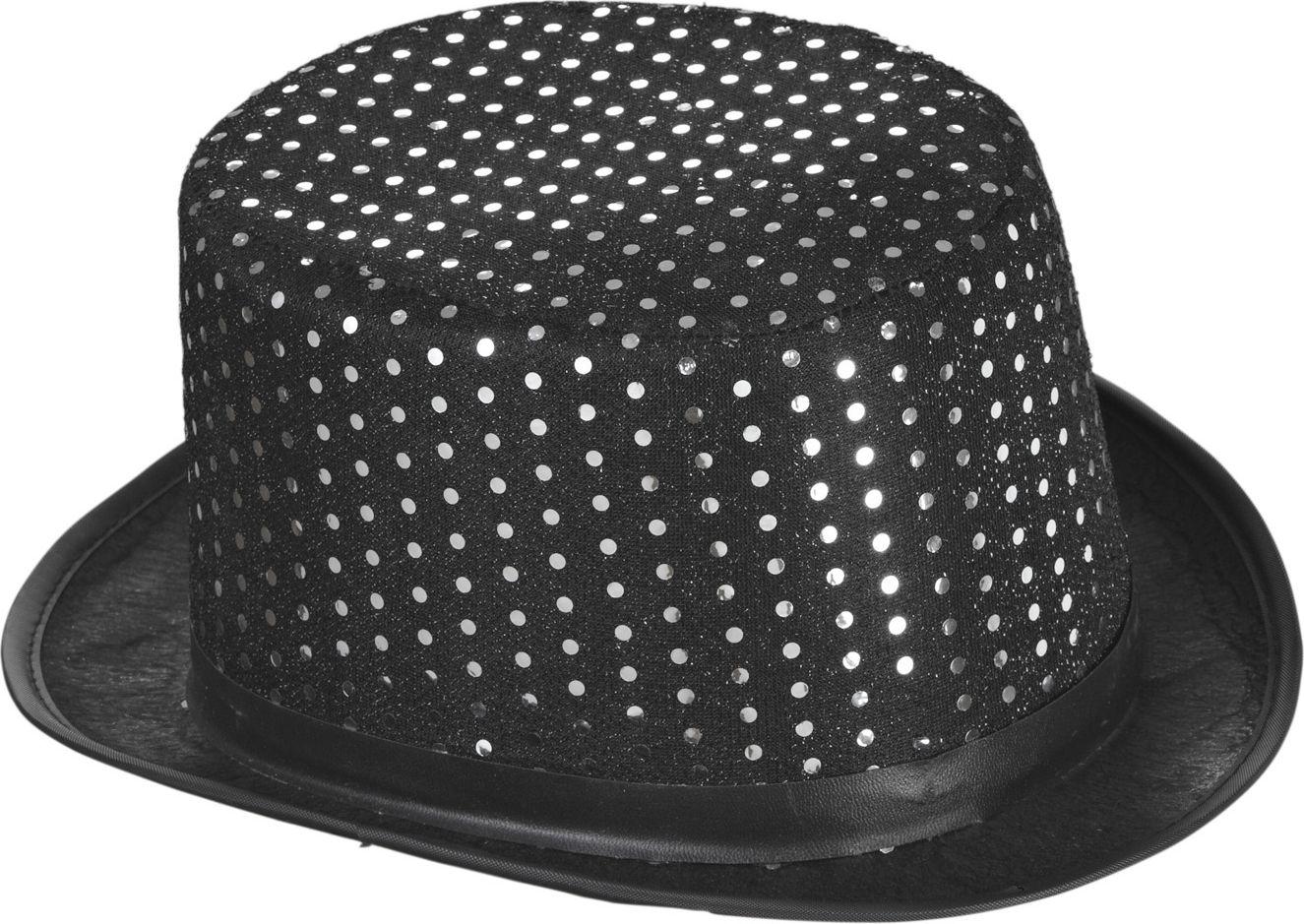 Zwarte pailletten lurex hoge hoed