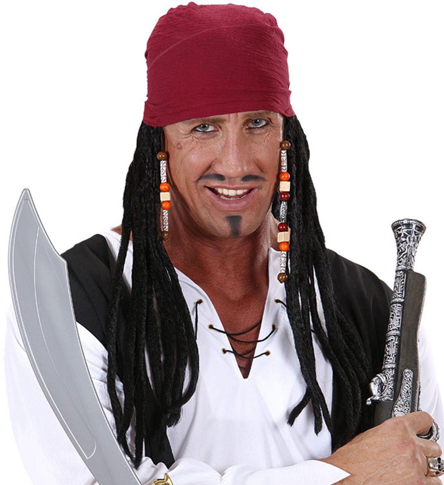 Zwarte piraten pruik met rode bandana
