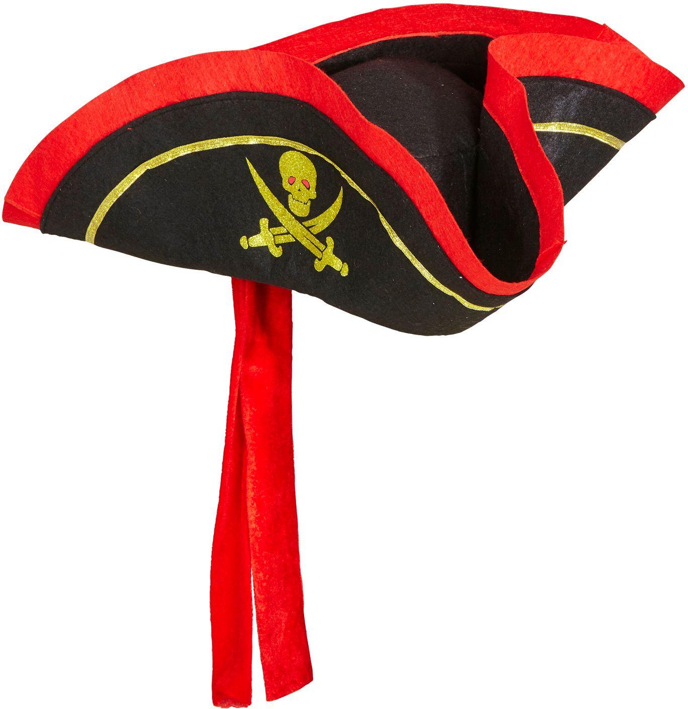 Zwarte piraten tricorn hoed