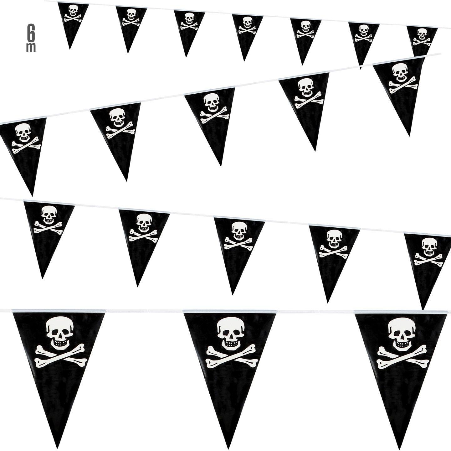 Zwarte piraten vlaggenlijn 6m