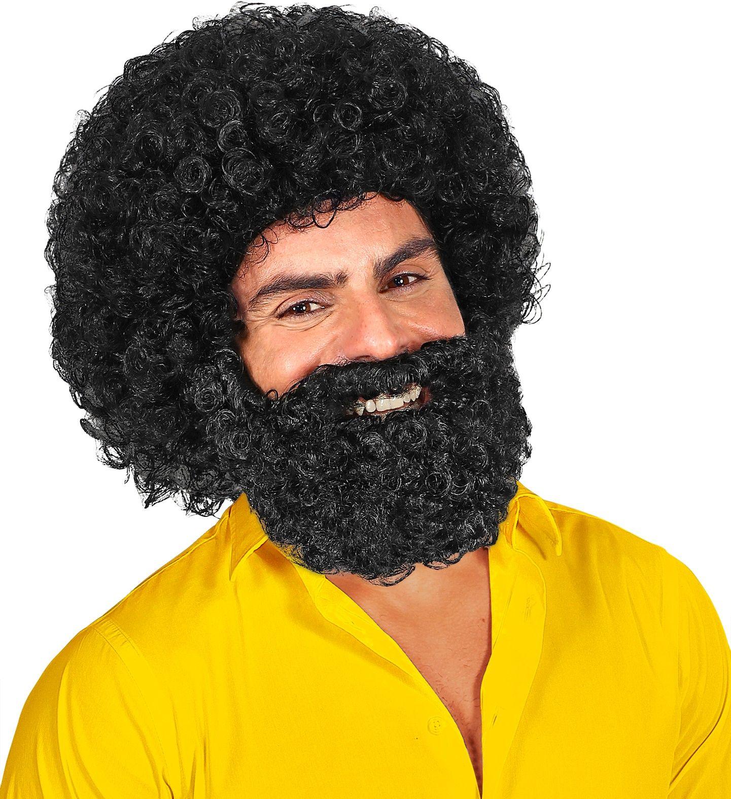 Zwarte pruik met baard