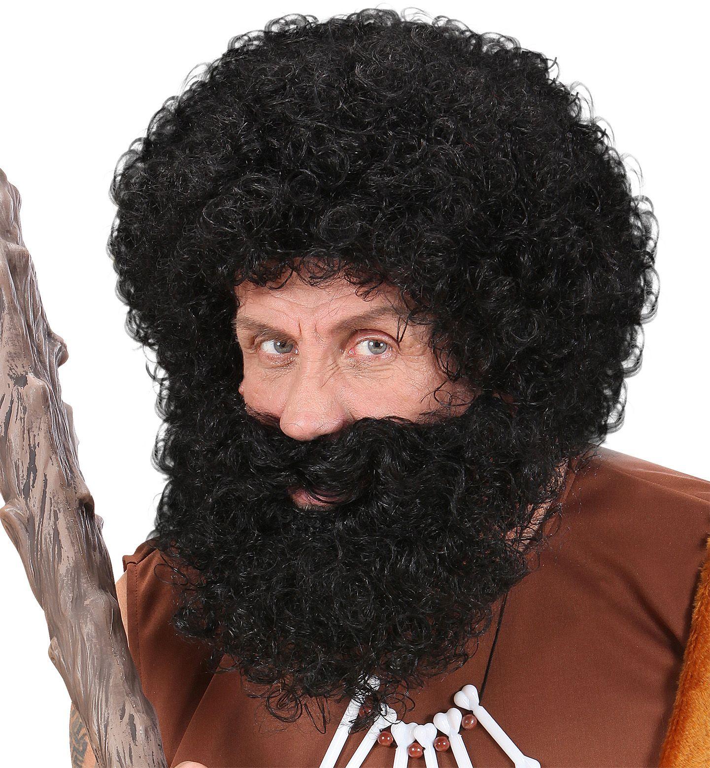 Zwarte pruik met snor en baard