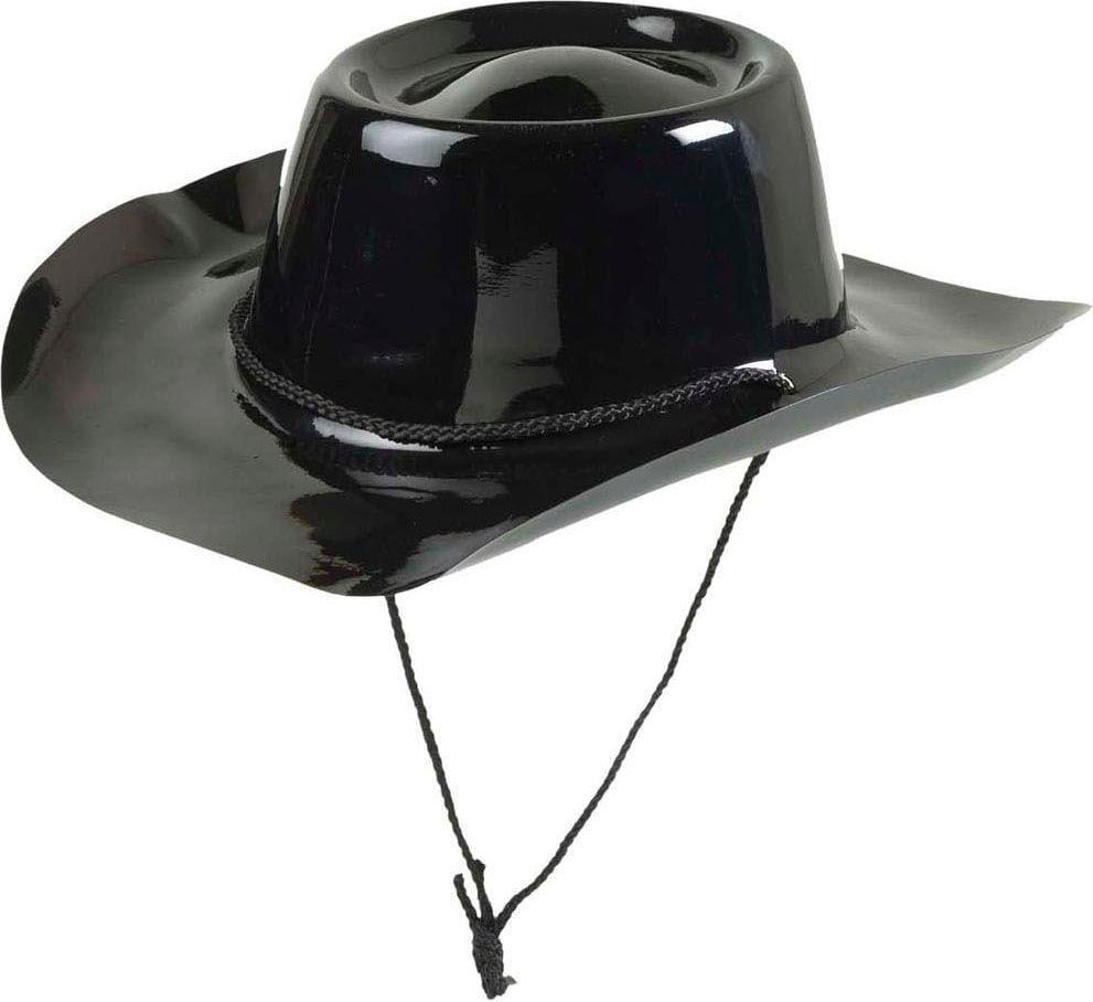 Zwarte pvc cowboy hoed