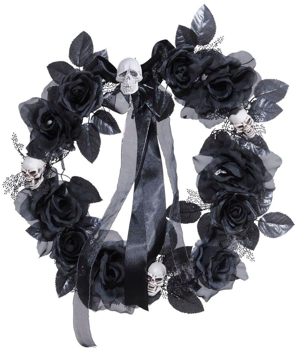 Zwarte rozen halloween krans