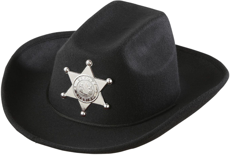 Zwarte sheriff cowboyhoed
