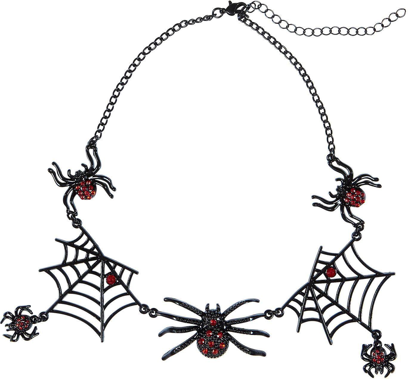 Zwarte spinnen halsketting