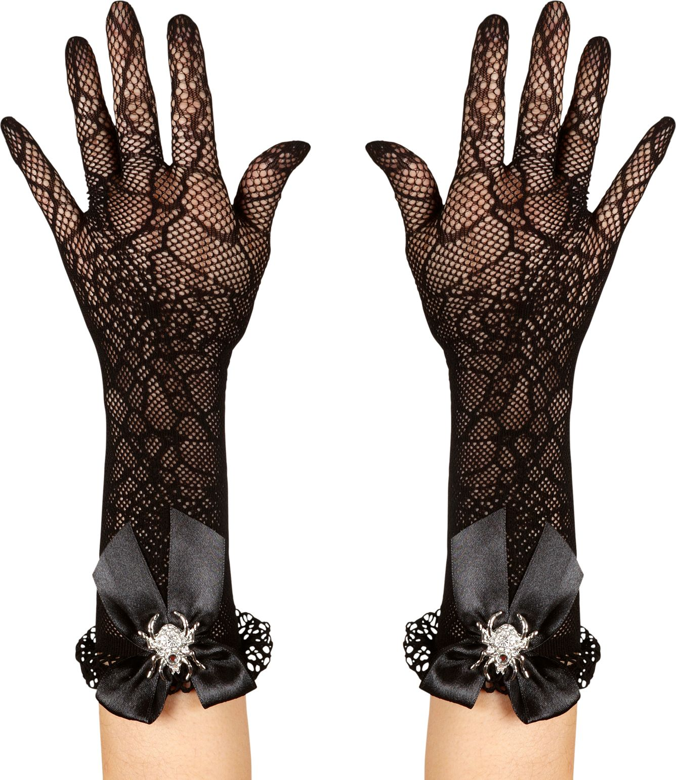 Zwarte spinnenweb handschoenen met strass