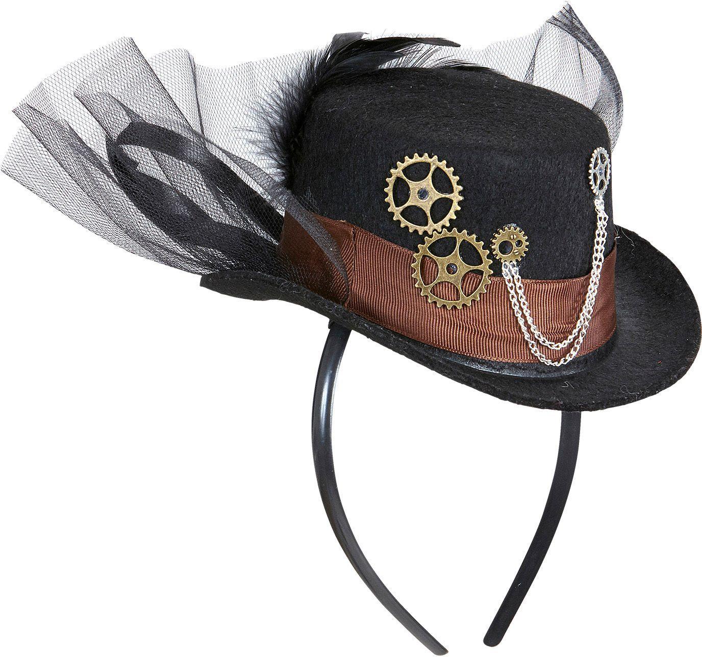 Zwarte steampunk haarband met mini hoed