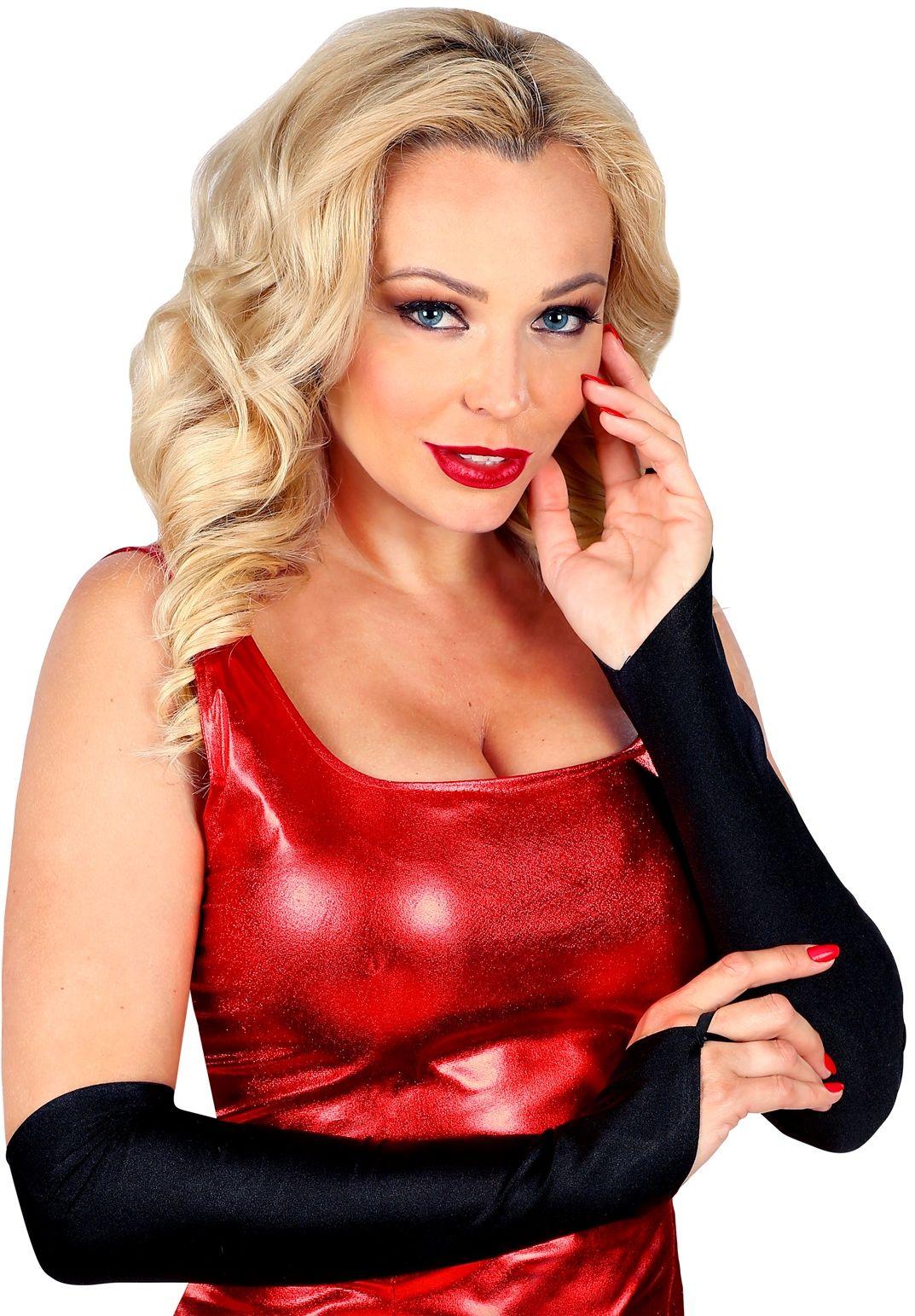 Zwarte toploze satijnen handschoenen