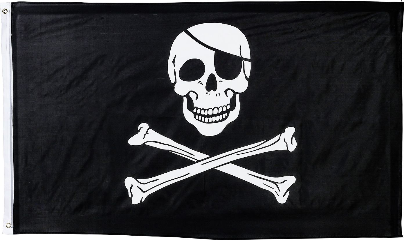 Zwarte vlag piraat met doodskop