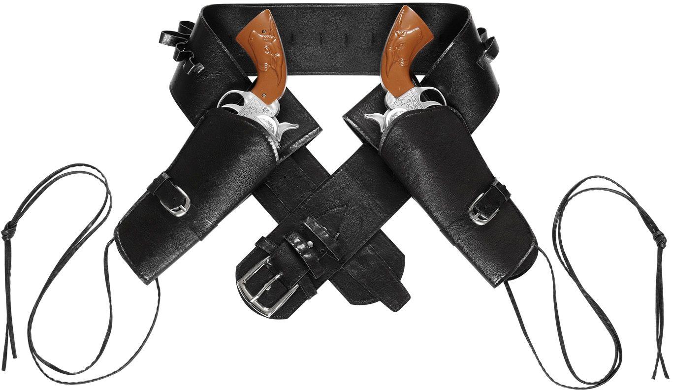 Zwarte western riem met dubbele holster
